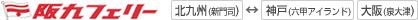 阪九フェリーの時刻表と運賃表