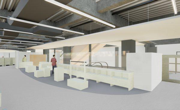 新しい市立図書館の中のCO-ON(コ・オン)